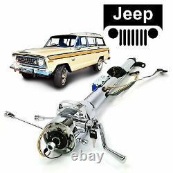 1963-83 Jeep Wagoneer Chrome Tilt Steering Column Keyed 33 Hurst 17 Cherokee SJ