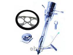 28 Street Hot Rod Chrome Tilt Steering Column Automatic Shift With 9 Hole Wheel