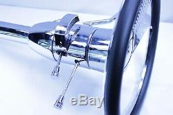 28 Street Hot Rod Chrome Tilt Steering Column Automatic Shift With Wings Wheel
