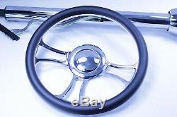 30 Street Hot Rod Chrome Tilt Steering Column Floor Shift WithIndependent Wheel