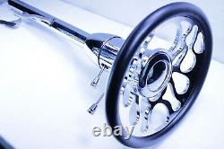 32 Chrome Tilt Steering Column Floor Shift With9Hole Ripple Wheel Street Hot Rod