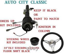 33 Tilt Steering Column Keyed Street/Hot Rod Black Floor Shift 3 Spoke Wheel
