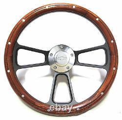 Custom Mahogany & Billet Steering Wheel Kit for 1964 66 Chevy Non-Tilt Column